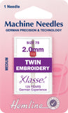 Hemline Sewing Machine Needles Twin Embroidery - 2mm - Hobby & Crafts