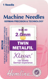 Hemline Sewing Machine Needles Twin Metalfil - 2mm - Hobby & Crafts