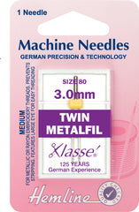 Hemline Sewing Machine Needles Twin Metalfil - 3mm - Hobby & Crafts