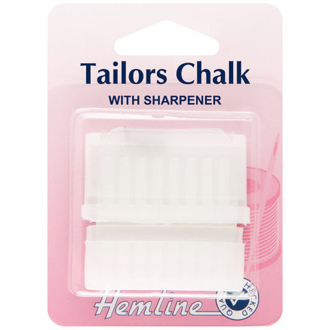 Hemline White Colour Fabric Tailors Chalk With Sharpener Hand Sewing Haberdashery - Hobby & Crafts