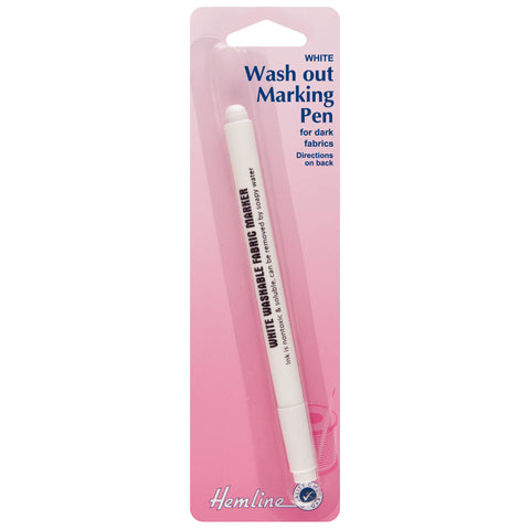 Hemline White Water Soluble Fabric Pen Markers Hand Sewing Haberdashery - Hobby & Crafts