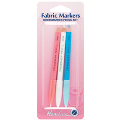 3 x Hemline Assorted Colour Dressmakers Fabric Marker Pencils Hand Sewing - Hobby & Crafts