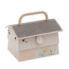 Sewing Bee Hive Design Sewing Basket Box With Tray Medium