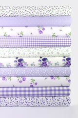 Fabric Bundles Fat Quarters Polycotton Material Vintage Florals Gingham Craft - Lilac