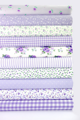 Fabric Bundles Fat Quarters Polycotton Material Flowers Gingham Spots Craft - LILAC