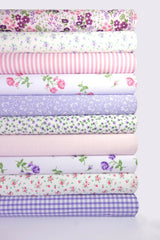 Fabric Bundles Fat Quarters Polycotton Material Florals Gingham Spots Craft - LILAC PINK
