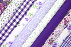 Fabric Bundles Fat Quarters Polycotton Material Vintage Florals Gingham Craft - Lilac Purple
