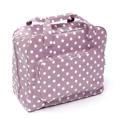 Mauve Polka Dot Value PVC Sewing Machine Storage Bag With Zip Up Front Pocket - Hobby & Crafts