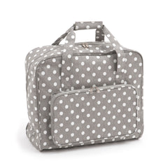 Grey Linen Polka Dot Value Matt PVC Sewing Machine Storage Bag With Front Pocket - Hobby & Crafts