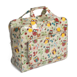 Owl Print Groves PVC Sewing Machine Storage Bag With Handle Zip Up Front Pocket - Hobby & Crafts