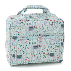 Llama Printed Groves Matt PVC Sewing Machine Storage Bag With Handle Zip Up Front Pocket