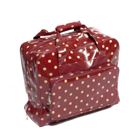 Red Polka Dotted Value PVC Sewing Machine Storage Bag With Handle Zip Up Pocket - Hobby & Crafts