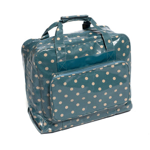 Blue Polka Dotted Value PVC Sewing Machine Storage Bag With Handle Zip Up Pocket - Hobby & Crafts