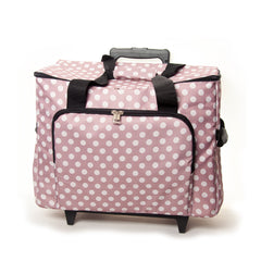 Mauve Polka Dot Value Sewing Machine Storage Trolley Bag With Zipup Front Pocket - Hobby & Crafts