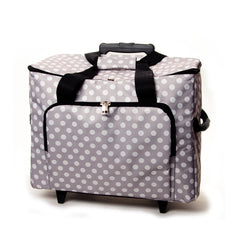 Grey Polka Dot Value Sewing Machine Storage Trolley Bag With Zip Up Front Pocket - Hobby & Crafts