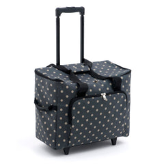 Charcoal Polka Dot Value Matt PVC Sewing Machine Storage Trolley Bag With Pocket - Hobby & Crafts