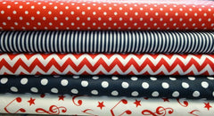 Fabric Bundles Fat Quarters Polycotton Material Red Navy Geometrics Musical Children Craft
