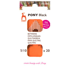 20 x Pony Black Betweens Hand Sewing Needles With Round White Eye Crafts Size: 5-10