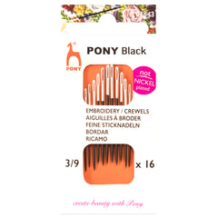 16 x Pony Black Crewels Hand Sewing Needles With Round White Eye Crafts Size 3-9