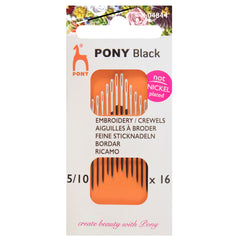 16 x Pony Black Crewels Hand Sewing Needles With Round White Eye Craft Size: 5-10