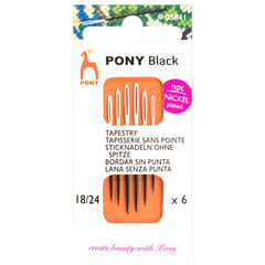 6 x Pony Black Tapestry Hand Sewing Needles With Round White Eye Crafts Size: 18-24