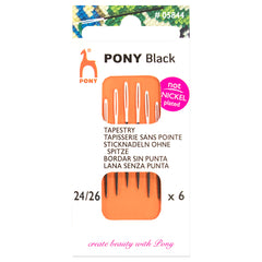 6 x Pony Black Tapestry Hand Sewing Needles With Round White Eye Crafts Size: 24-26