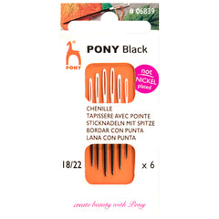 6 x Pony Black Chenille Hand Sewing Needles With Round White Eye Crafts 18-22