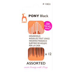 12 x Pony Assorted Black Household Hand Sewing Needles With White Eye Crafts