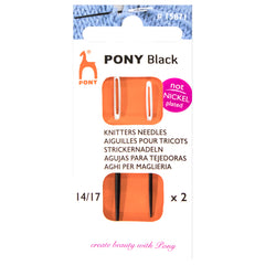 2 x Pony Black Knitters Hand Sewing Needles Bodkins With White Eye Crafts 14+17
