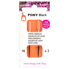 2 x Pony Black Wool Yarn Hand Sewing Needles Bodkins With White Eye Crafts 16