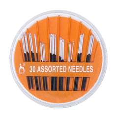 30 x Pony Assorted Size Black Sharps Hand Sewing Needles With White Eye Crafts
