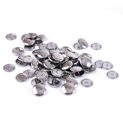 Hemline Self Cover Brass Silver Buttons - 15mm x 10 - Hobby & Crafts