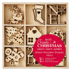 45 x Papermania Small Christmas Icons Shapes Wooden Embellishments Decoration Crafts