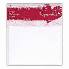 Papermania Blank Cards Envelopes Pack 15.2cm x 15.2cm White Card Making Crafts x 10