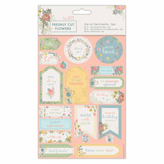2 x Papermania Freshly Cut Flowers Die Cut Sentiments Printed Paper Sheets Crafts