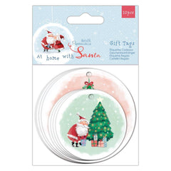 Papermania At Home With Santa 20 Printed Round Shaped Tags Assorted Size Designs Scrapbooking Crafts