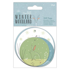 20 x Papermania Winter Woodland Printed Round Gift Tags Assorted Designs 8cm/6cm Scrapbooking Crafts