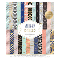 50 x Papermania Modern Deco 15.2cmx15.2cm Paper Pad 25 Different Designs Scrapbooking Crafts