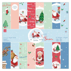 32 x Papermania At Home With Santa 30.5cm /12 In Printed Paper Sheets Pack Crafts