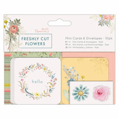 10 x Papermania Freshly Cut Flowers Printed Mini Cards Envelopes With Stickers 6.3cm