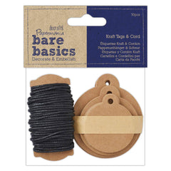 Papermania 30 Kraft Eyelet Round Tags With 6m Black Cord Assorted Size Scrapbooking Crafts