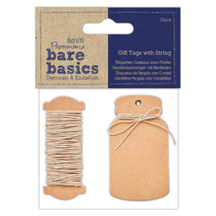 Papermania Bare Basics 12 Mini Bottle Shaped Tags With Smooth String Scrapbooking Crafts