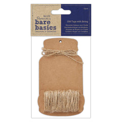 Papermania Bare Basics 12 Large Bottle Shaped Tags With Rustic String Scrapbooking Crafts