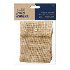 3 x Papermania Bare Basics Hessian Pockets With Button Closure Brown Rectangular