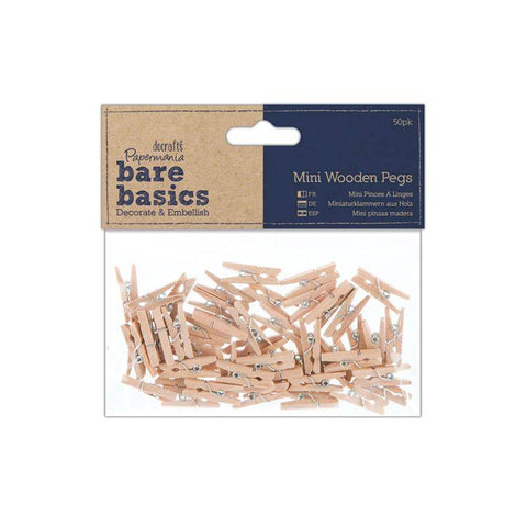 50 x Papermania Bare Basics Mini Wooden Pegs Decoration Scrapbooking Crafts