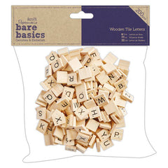 200 x Papermania Bare Basics Tile Letters Wooden Decorations Scrapbooking 1.5 cm