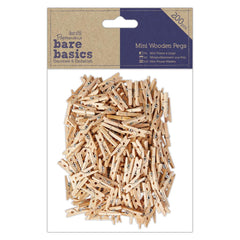 200 x Papermania Bare Basics Mini Wooden Pegs Decoration Scrapbooking Crafts