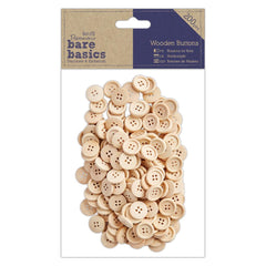 200 x Papermania Bare Basics Natural Brown Wooden Buttons Scrapbooking Crafts