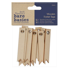 12 x Papermania Bare Basics Eyelet Tags 6.5cm Wooden Decorations Scrapbooking Crafts