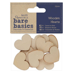 12 x Papermania Bare Basics Hearts Shaped 3cm Wooden Decoration Scrapbooking Crafts